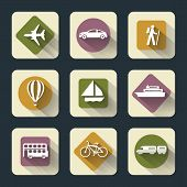 foto of sailfish  - Vector design flat travel icons for web and mobile white on colored basis with long shadow - JPG