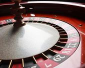 stock photo of roulette table  - Old Roulette wheel - JPG