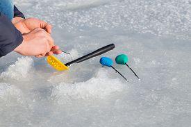 pic of ice fishing  - Winter fishing - JPG