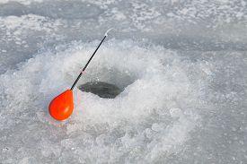 foto of ice fishing  - Winter fishing - JPG