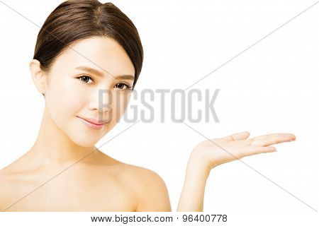 closeup beautiful asian young woman face isolated