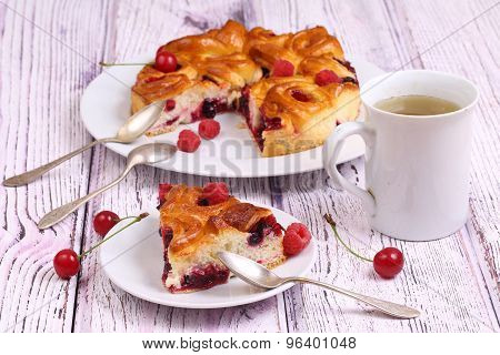 Still-life With Tea And A Pie From Fresh Berries