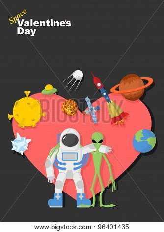 Astronaut And Alien Friends. Valentines Day In Space. Heart Symbol With Cosmic Elements: Spacecraft