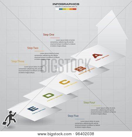 abstract business chart. 5 Steps diagram template/graphic or website layout. Step by step id