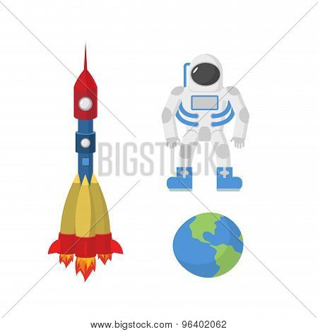 Set Space: Astronaut, Planet Earth, Rocket. Vector Illustration