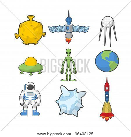 Set Space Icons. Spacecraft And Rocket Ufo. Satellite And Earth, Astronaut And Alien. Vector Illustr