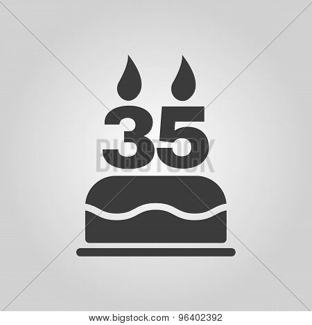 The birthday cake with candles in the form of number 35 icon. Birthday symbol. Flat