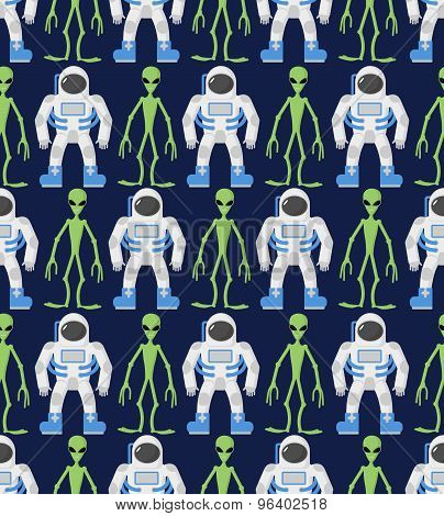 Astronaut And Humanoid, Alien. Seamless Pattern, Ornament. Vector Background Cosmic