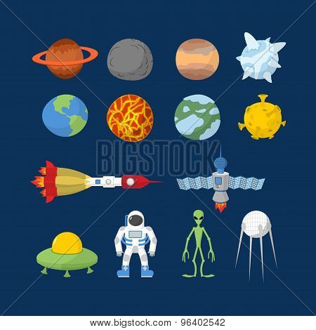 Set Space icons. Planets and rockets UFO and alien satellite and astronaut. Vector illustration