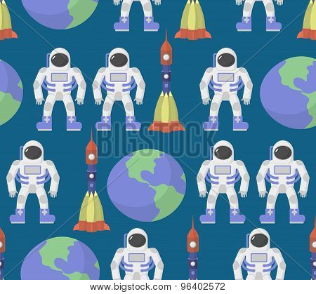 Astronaut And Earth Seamless Ornament. Vector Background Space.