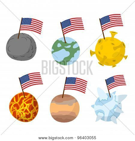 Planets Of  Solar System With Flag Of America. Discoverers Of New Planets In  Space. Vector Illustra