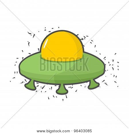 Flying Saucer Ufo On A White Background. Vector Illustration
