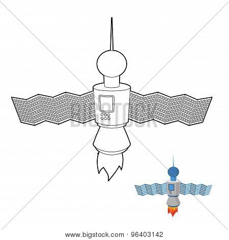 Space Satellite Coloring Book. Space Station. Vector Illustration.
