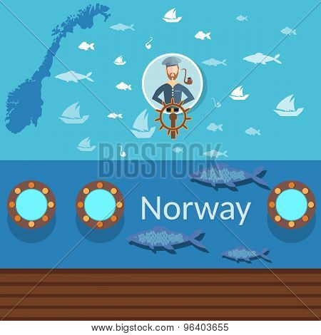 Norwegian Sailor, Norway, Industrial Fishing, Traveling Norway, Fish And Ships, Flat Vector