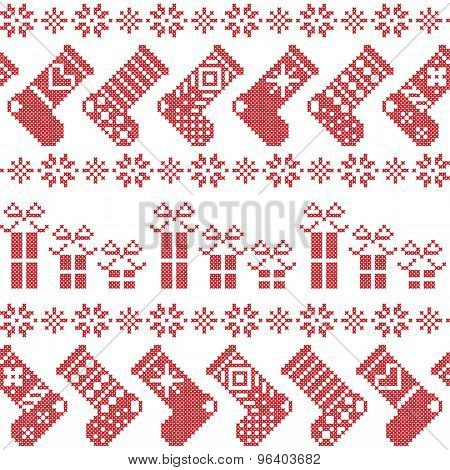Scandinavian Nordic Christmas Pattern With Stockings, Stars, Snowflakes, Presents In Cross Stitch