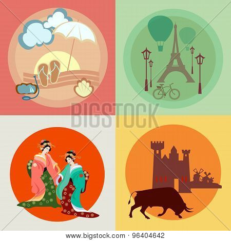 Travel Across Europe And Asia: France, Japan, Spain, The Beach And Vacation, Vector Icons