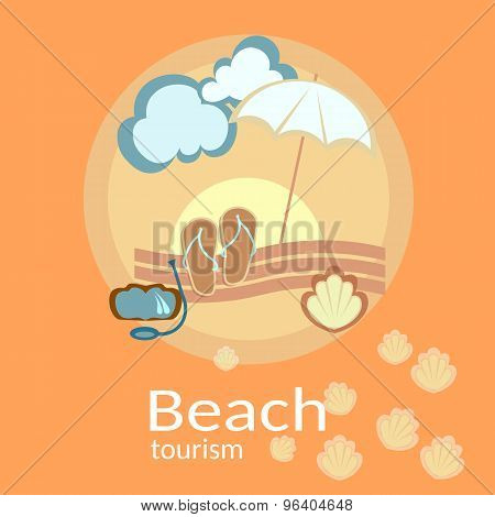 Beach Holidays And Tourism, Vector Illustration