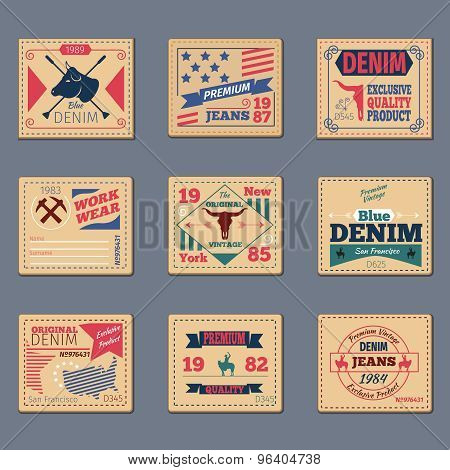 Vintage denim typography vector set