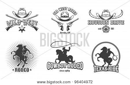 Vector Wild West and Rodeo labels