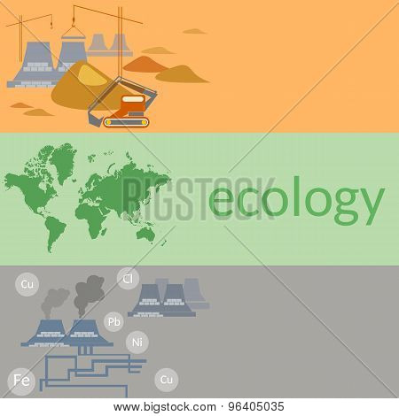 Ecology And Pollution. Smoke Of Factories, Protection Against Pollution, Flat Vector Banners