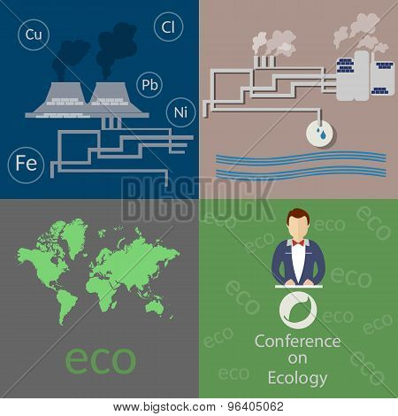 Ecology And The City, Air Pollution, Smoke Factories, Pollution Of The World, Vector Icons