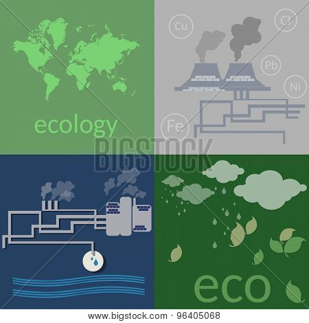 Ecology. Environmental Pollution, Poisoning The Soil And Air, Ecology Concept Flat Vector Icons Set