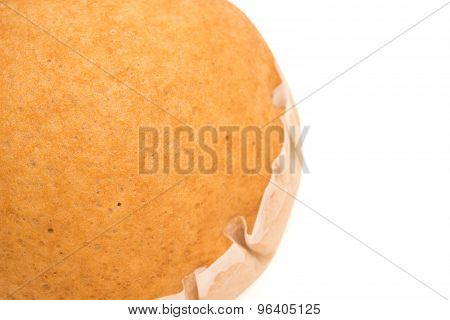 Top View Homemade Golden Bread On White With Clipping Path