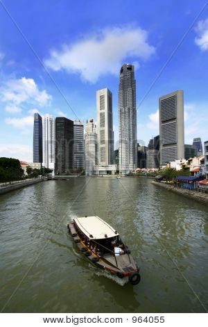 Singapore Rivers And Boat
