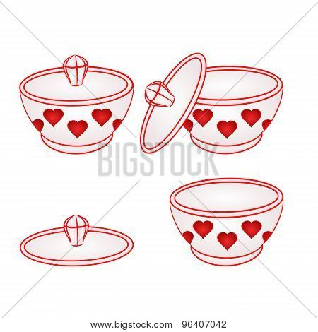 Sugar Bowlwith Red Hearts VectorSugar bowl with red hearts part of porcelain vector illustration