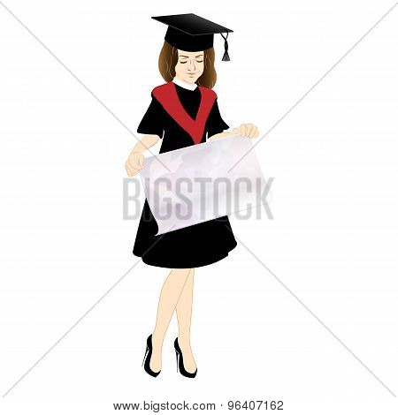 Student in Cap and Gown with a poster