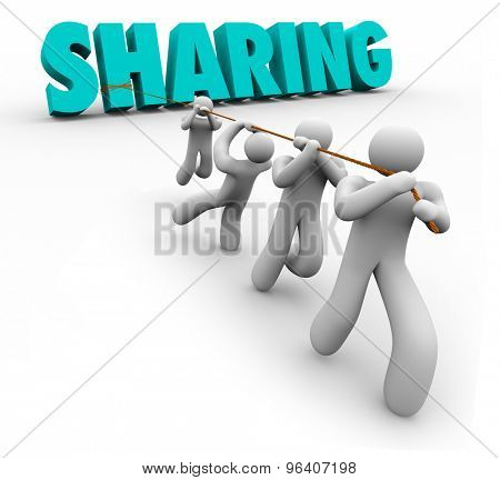 Sharing word pulled by team working together in a crowdsourcing economy or project for improvement and growth