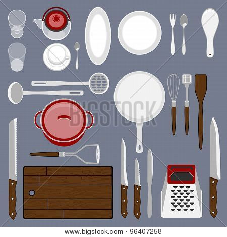 Kitchenware set. Cooking workplace