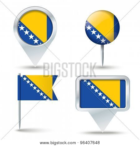 Map pins with flag of Bosnia and Herzegovina - vector illustration