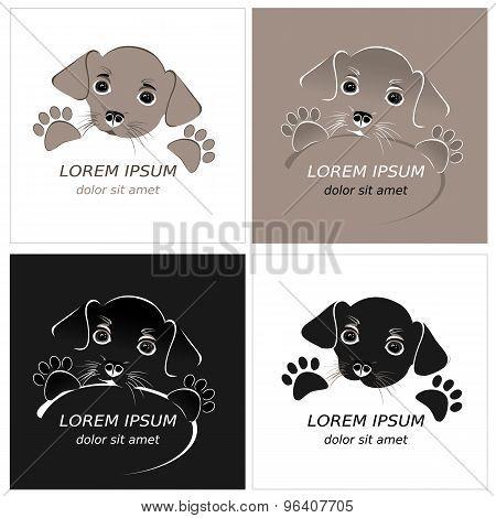 Cartoon cute outline dog. Contour puppy