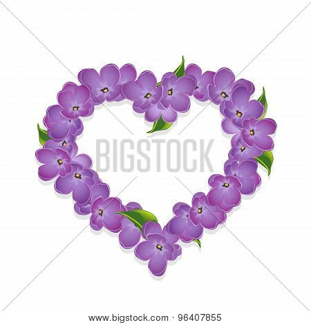Floral heart with lilac flowers