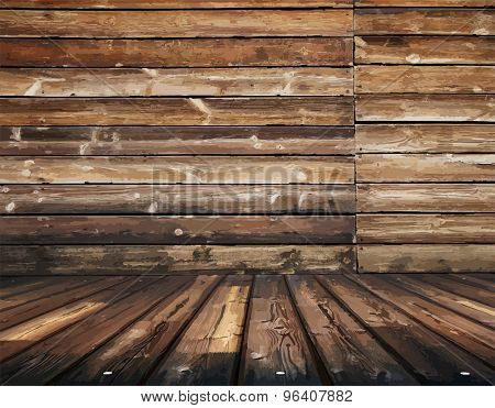dirty wooden slum, vintage background, vector