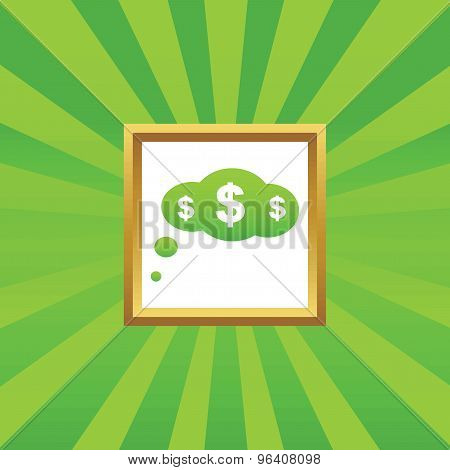 Dollar thought picture icon