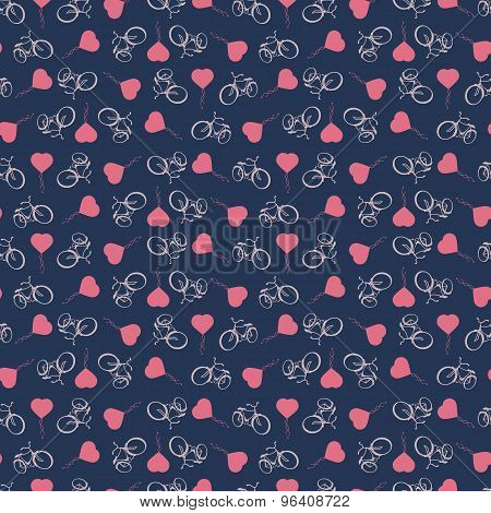 Sporty tourist seamless background with bicycles and heart balloons