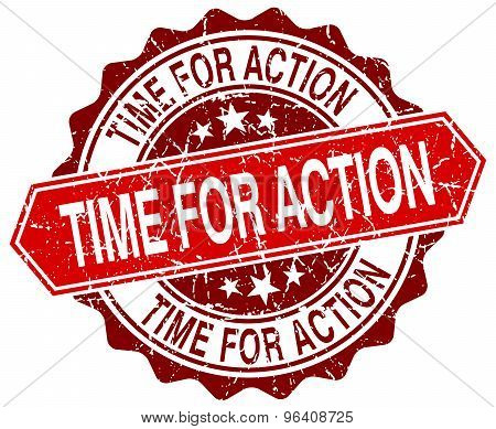 Time For Action Red Round Grunge Stamp On White