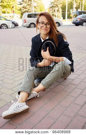 Smiling Girl Hipster