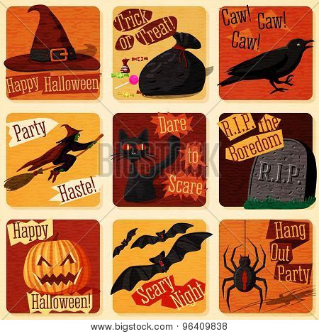Collection of cute retro stylized halloween illustrations with holiday signs. Vector