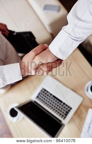 Businessmen handshaking over workplace