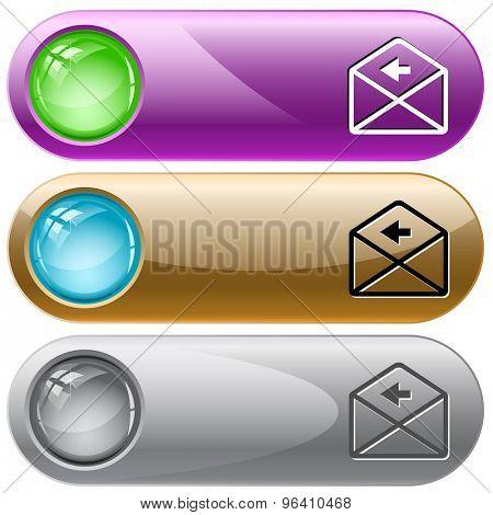 mail left arrow. Vector internet buttons.