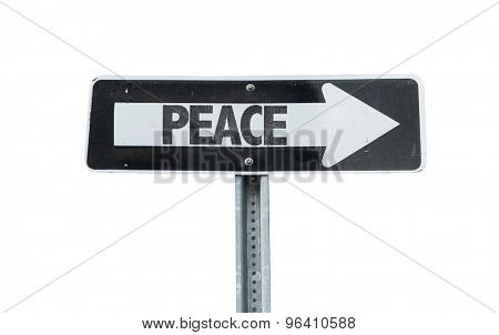 Peace direction sign isolated on white