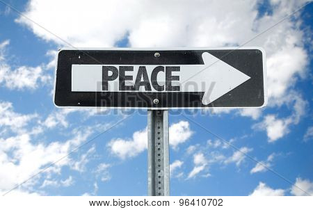 Peace direction sign with sky background