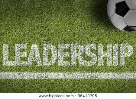 Soccer field with the text: Leadership