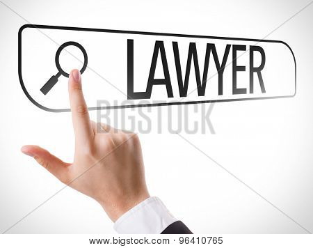 Lawyer written in search bar on virtual screen