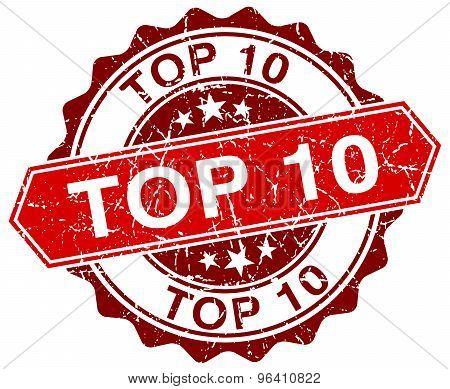Top 10 Red Round Grunge Stamp On White