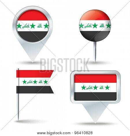 Map pins with flag of Iraq - vector illustration