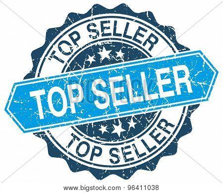 Top Seller Blue Round Grunge Stamp On White
